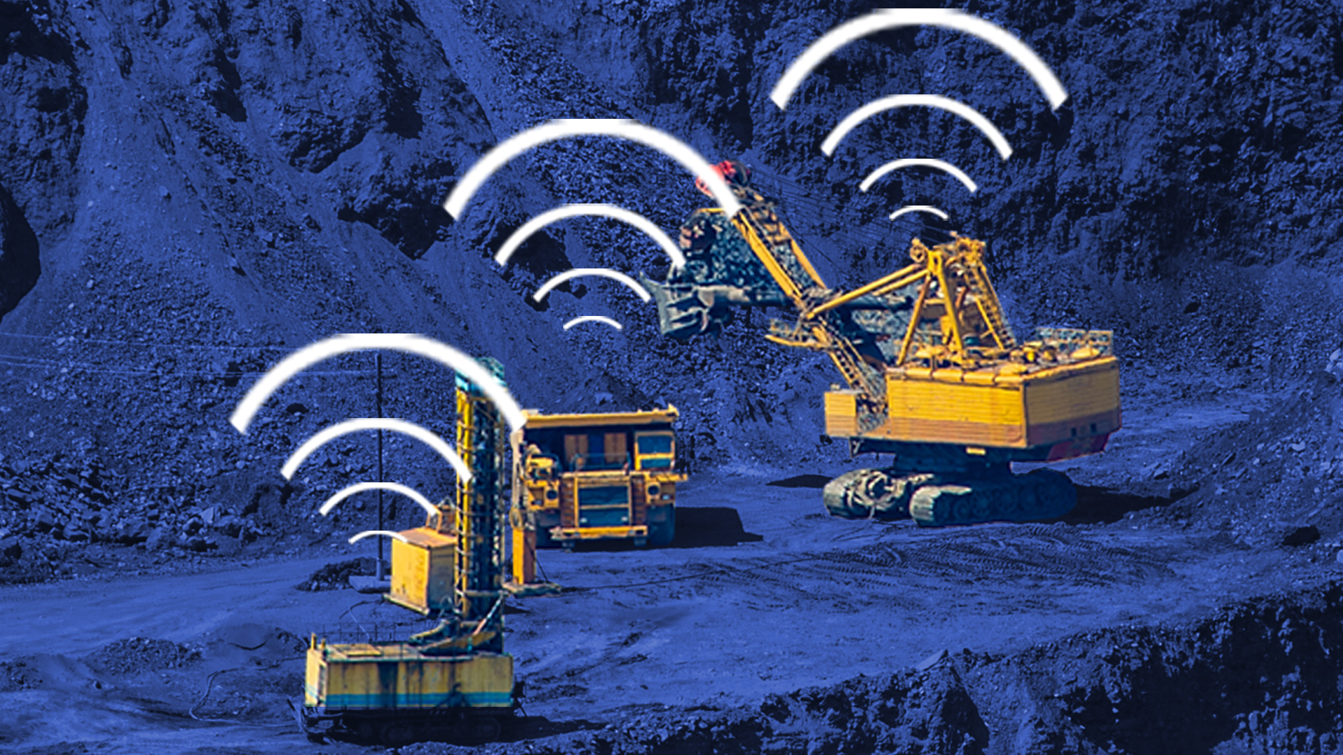 Heavy equipment such as a crane loader, dump truck and drill rig, in an open pit mine using SM2 Locate Asset Tracking System